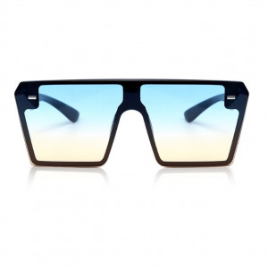 Ochelari de soare D3 mari patrati Oversized negri lentile albastru gradient