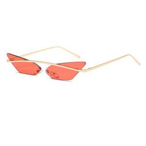 Ochelari de soare, femei, model Cat Eye orange, rama aurie