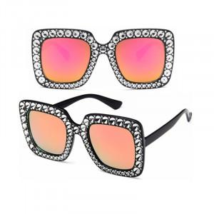Ochelari de soare Luxury Black Pink cu pietricele aplicate