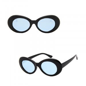 Ochelari de soare Retro Black Oval cu rame groase