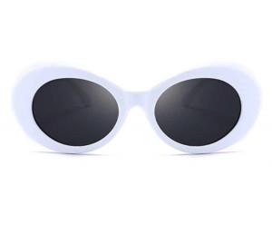 Ochelari de soare Retro White Oval cu rame groase