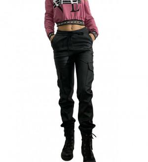 Pantaloni Canon negri din piele ecologica accesorizati cu buzunare
