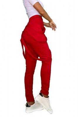 Pantaloni dama rosii cu fermoar si bretele