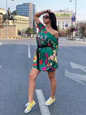 Rochie casuala de zi Vogue verde cu imprimeu floral