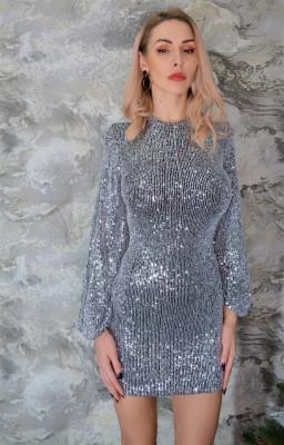 Rochie cu paiete Shine, argintie