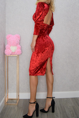 Rochie eleganta Idylle, cu spatele gol, rosie