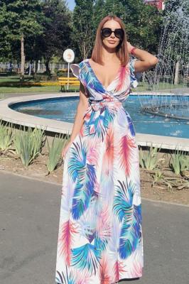 Rochie lunga de vara, cordon in talie imprimeu floral albastru, rosu