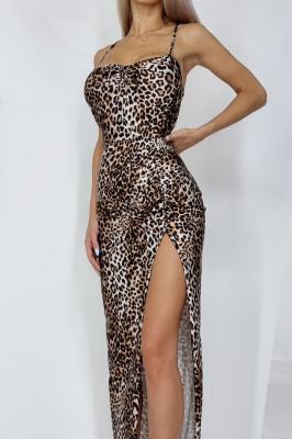 Rochie lunga Isabela Leopard