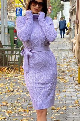 Rochie tricotata Sara, cu guler si maneci lungi, lila