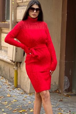Rochie tricotata Sara, cu guler si maneci lungi, rosu