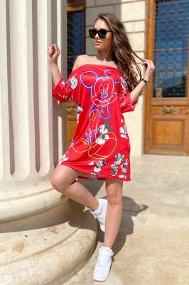 Rochie tricou lung Minnie rosie