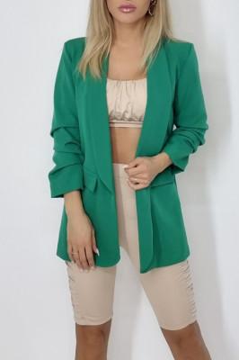 Sacou Nora casual verde de lungime medie