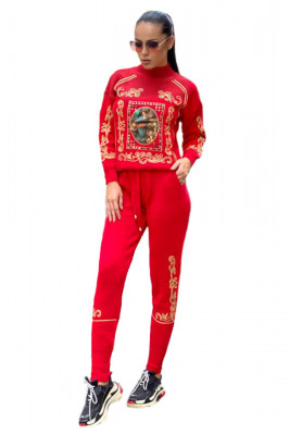 Trening tricotat cu model deosebit Saint Louis, rosu