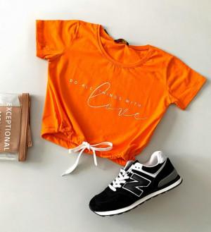 Tricou dama orange din bumbac Love