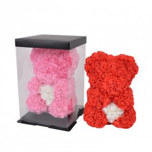 Ursulet Floral din Trandafiri de spuma cu inima, in cutie cu funda, 25 cm
