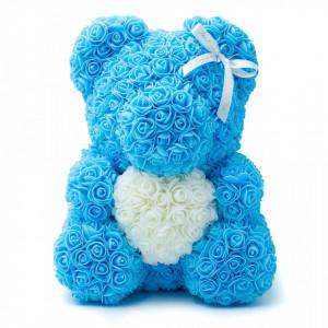 Ursulet Floral din Trandafiri de spuma cu inima, in cutie cu funda, 40 cm