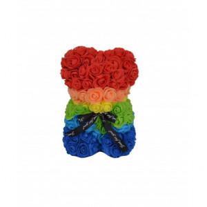 Ursulet Floral Teddy Bear din Trandafiri de spuma, 25 cm, in cutie cadou