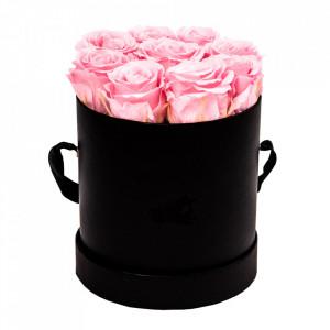 Aranjament floral cu 9 trandafiri de sapun, in cutie neagra rotunda