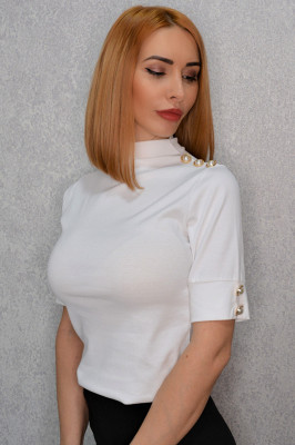 Bluza cu maneca trei sfert Despina alb