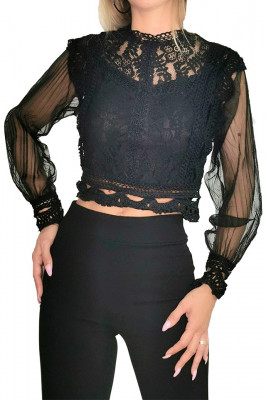 Camasa Layla neagra din dantela