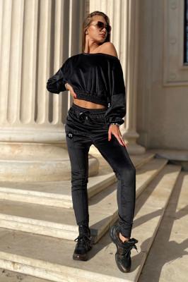 Compleu catifea Anna pantaloni si bluza asimetrica, Negru, Marime universala S/M