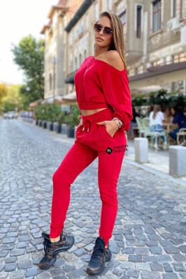 Compleu catifea Anna pantaloni si bluza asimetrica, Rosu, Marime universala S/M