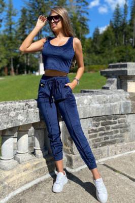 Compleu catifea Arya pantaloni, top si bluza cu gluga. Bleumarin. Marime universala S/M