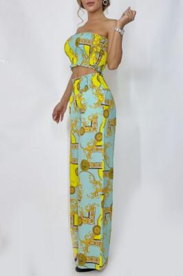 Compleu dama top si pantaloni largi Nevara Tropical