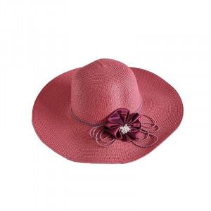 Palarie de plaja roz decorata cu floare din satin si snur elastic