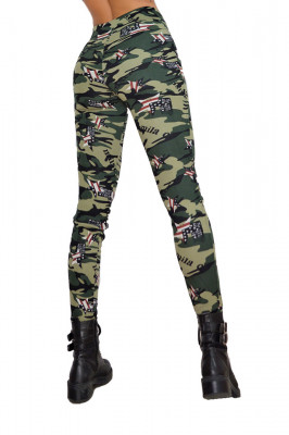 Pantaloni Army verzi, croiala skinny, imprimeu de camuflaj captusiti