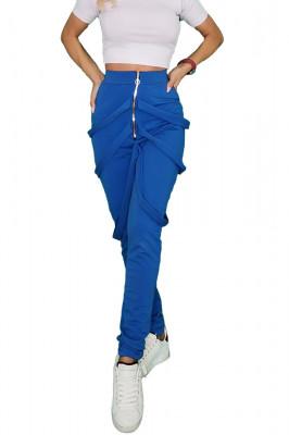Pantaloni dama albastri cu fermoar si bretele