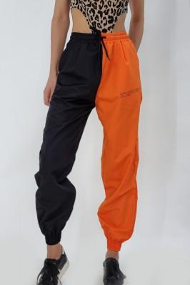Pantaloni din fas in doua culori Elvis negru-orange