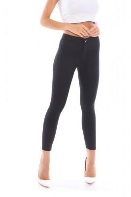 Pantaloni elastici talie medie Tina negru