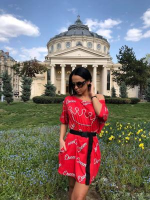 Rochie casuala de zi Qween rosu cu imprimeu trendy