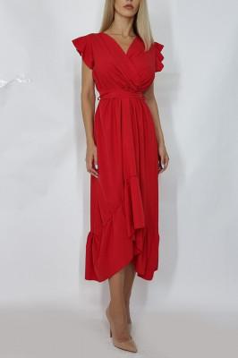 Rochie midi cu cordon in talie Bianca rosie