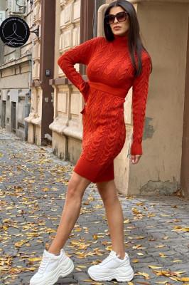 Rochie tricotata Sara, cu guler si maneci lungi, aramiu