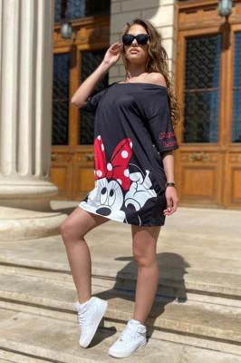 Rochie tricou lung Minnie negru