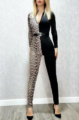 Salopeta dama din lycra in 2 culori Leopard