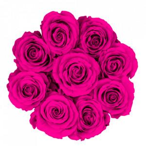 Aranjament floral cu 9 trandafiri parfumati de sapun, in cutie alba