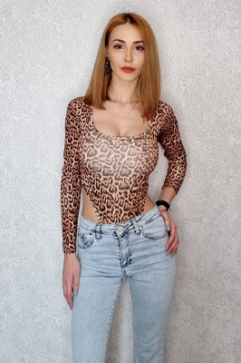 Body leopard cu maneca lunga
