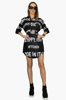Camasa dama Be Happy neagra casual asimetrica, imprimeu cu scris