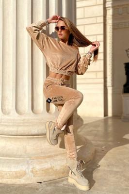 Compleu catifea Anna pantaloni si bluza asimetrica, Crem, Marime universala S/M