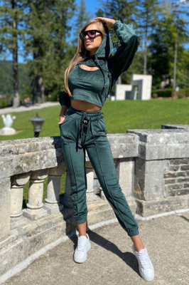 Compleu catifea Arya pantaloni, top si bluza cu gluga. Smarald. Marime universala S/M