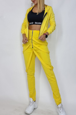 Compleu dama Cezara hanorac si pantaloni cu bretele galben