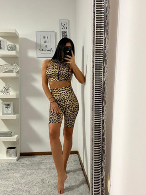 Compleu Fitness Tanya din doua piese leopard