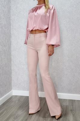 Compleu pantaloni si camasa Melea roz pudrat