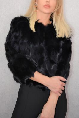 Jacheta scurta din blana naturala de iepure neagra
