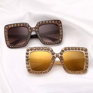 Ochelari de soare Luxury Brown cu pietricele aplicate