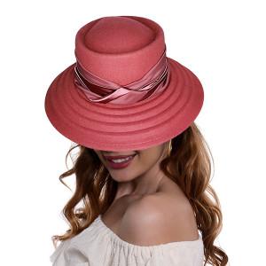 Palarie dama Luxe rose, cu bor lat si banda