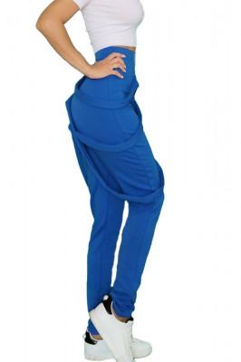 Pantaloni dama albastrii cu fermoar si bretele